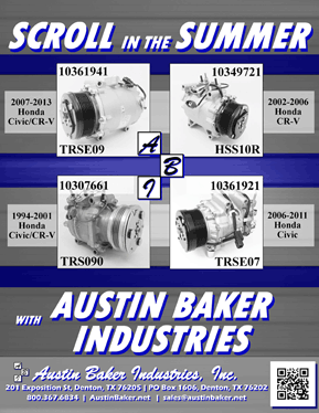 Austin Baker Ad from Austin Baker Auto Air Conditioner parts